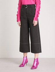 Moandco. Contrast Stitch Relaxed Fit Cotton Trousers Black