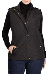 Lauren Ralph Lauren Plus Size Women's Faux Leather Trim Quilted Vest Black