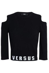 Versus By Versace Cold Shoulder Intarsia Stretch Knit Top Black