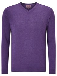 John Lewis Made In Italy Merino Wool V Neck Jumper Light Purple