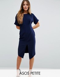 Asos Petite Wiggle Dress With Split Front Navy