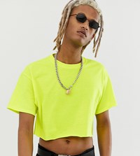 Reclaimed Vintage Cropped Fluorescent T Shirt In Yellow