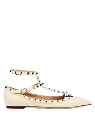 Valentino Rockstud T Bar Leather Flats White