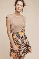 Anthropologie Linear Ruffled Top Cocoa