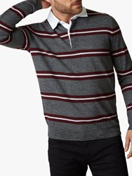 Jaeger Merino Multi Stripe Rugby Top Grey