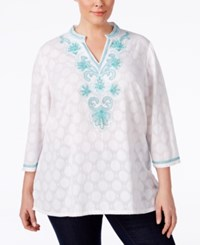 Charter Club Plus Size Beaded Dot Print Tunic Only At Macy's Bright White