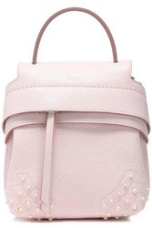 Tod's Woman Studded Textured Leather Backpack Pastel Pink