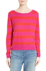 Joie Women's Cais Stripe Cashmere Sweater Hot Pink