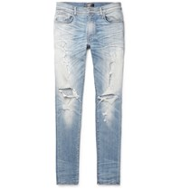 Amiri Thrasher Skinny Fit Distressed Stretch Denim Jeans Light Denim