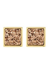 Sonya Renee Square Druzy Stud Earrings Pink