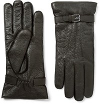 Berluti Cashmere Lined Full Grain Leather Gloves Brown