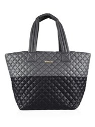 M Z Wallace Metro Medium Two Tone Quilted Nylon Tote Black Grey