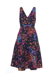 Saloni Jess Floral Print Textured Crepe Dress Black Multi