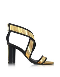 Balmain Aska Black And Gold Metallic Leather Heel Sandal