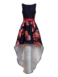 Chi Chi London Digital Floral Print High Low Dress Navy
