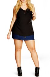 City Chic Plus Size Women's Sleeveless Lace Up Top Black