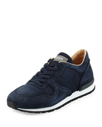 Tod's Suede Lace Up Trainer Sneaker Navy Size 9.5Uk 10.5D