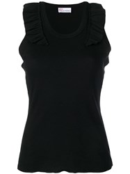 Red Valentino Ruffled Shoulder Tank Top Black