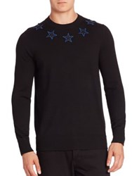 Givenchy Star Embroidered Wool Sweater Black
