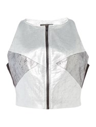 Label Lab Metallic Crop Top Silver