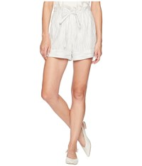 Vince Camuto Ticking Stripe Belted Cuffed Shorts Rich Black