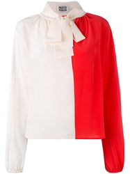Fausto Puglisi Contrast Pussy Bow Blouse Women Silk 42 Nude Neutrals