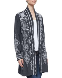 Johnny Was Tulia Embroidered Duster Cardigan Charcoal Grey