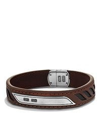 David Yurman Graphic Cable Leather Id Bracelet In Brown Brown Black
