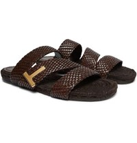 Tom Ford Grafton Woven Leather Slides Brown