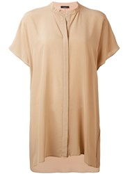 Roberto Collina Mandarin Neck Shortsleeved Shirt Women Silk S Brown