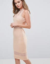 Ginger Fizz High Neck Midi Dress With Sheer Pannels Nude Pink