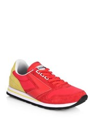 Brooks Medalist Chario Lace Up Leather Sneakers High Risk Red