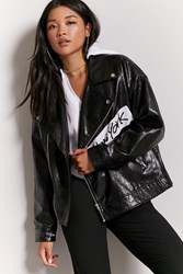 Forever 21 Graphic Faux Leather Moto Jacket Black White