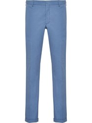 Prada Slim Fit Washed Trousers Blue