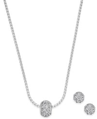 Charter Club Silver Tone Pave Ball Pendant Necklace And Stud Earrings Set Only At Macy's