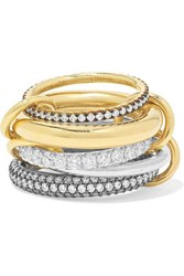 Spinelli Kilcollin Leilani Set Of Five 18 Karat Gold And Rhodium Plated Sterling Silver Diamond Rings 6