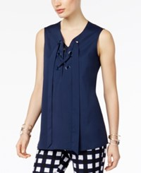 Alfani Prima Grommet Trim Lace Up Top Only At Macy's Navy Nautical