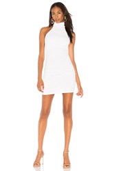 Susana Monaco Gathered High Neck Halter Dress 16 White