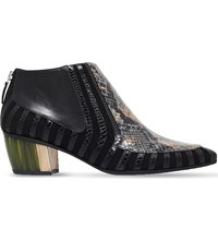 Rodarte Crocodile Effect Leather Ankle Boots Black