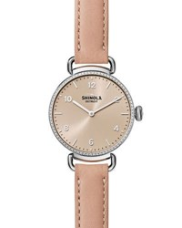 Shinola 32Mm Canfield Watch With Diamonds Blush