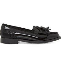 Dune Leather Tassel Fringe Loafers Black Patent