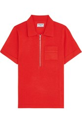 Frame Wool And Cashmere Blend Polo Shirt Tomato Red