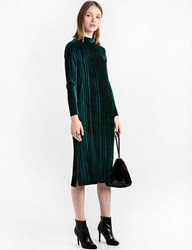 Pixie Market Dark Green Velvet Pleated Midi Dress