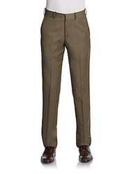 Saks Fifth Avenue Red Nailhead Wool Flat Front Pants Trim Fit Taupe