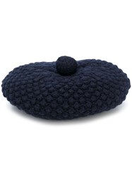 N.Peal Knitted Beret Hat Blue