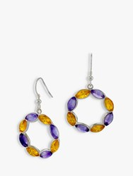 Be Jewelled Amethyst And Amber Circle Drop Earrings Silver Multi