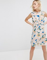 Asos Aline Dress With Pleated Yolk Front In Floral Print Multi