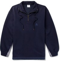 Vetements Oversized Panelled Fleece Back Cotton Blend Jersey Half Zip Sweatshirt Navy