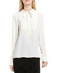 Vince Camuto Tie Neck Pleated Tuxedo Blouse White