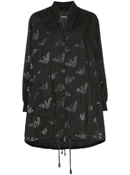 Emporio Armani Oversized All Over Logo Coat Black